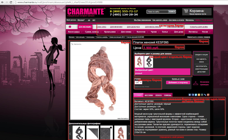 наполнение интернет магазина из charmante.ru