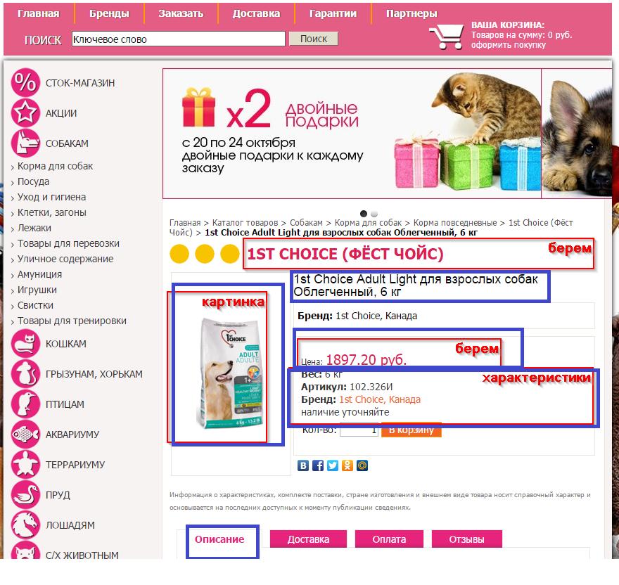 Наполнение интернет магазина товарами gaws.ru