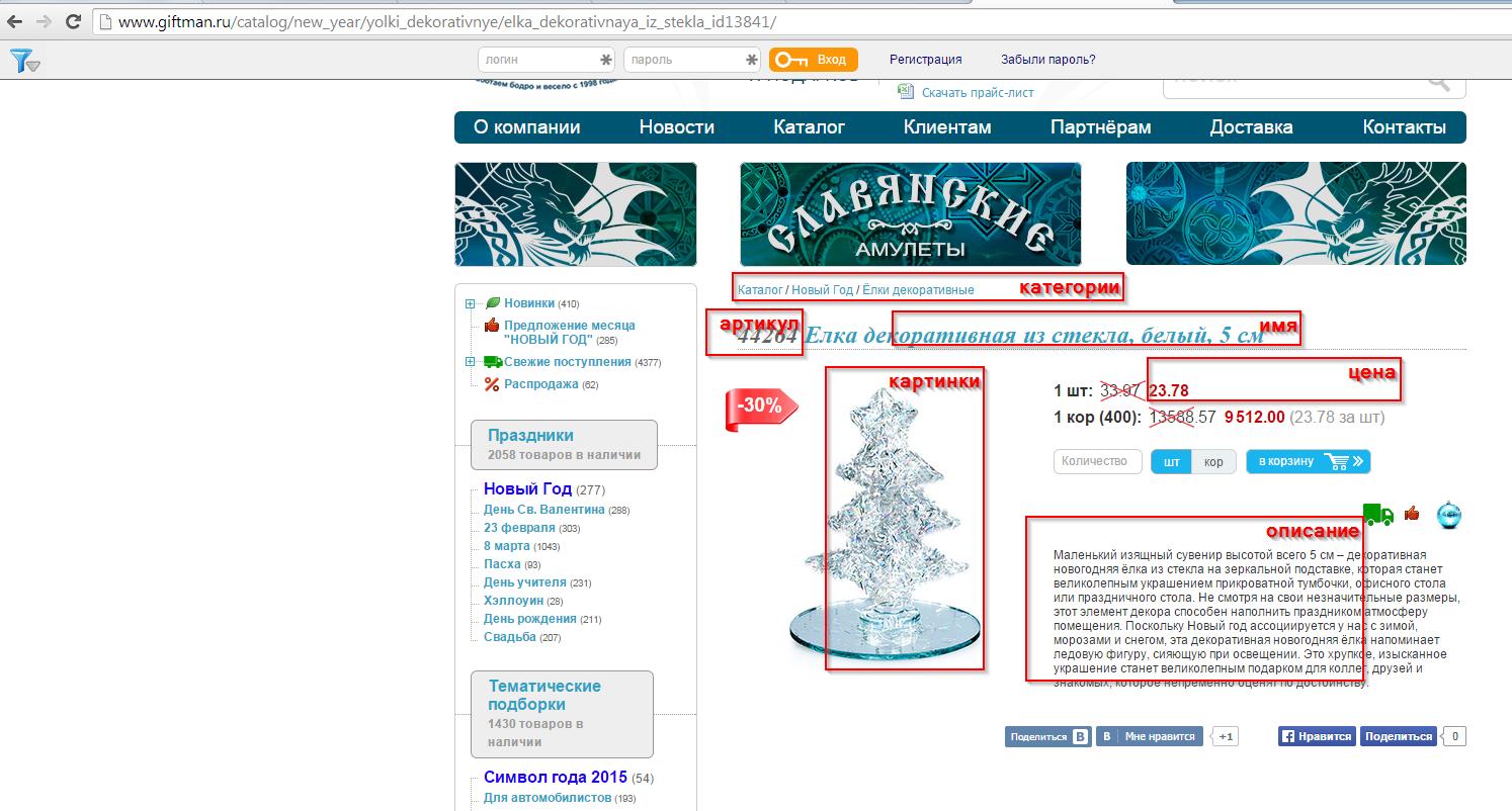 Наполнение интернет магазина товарами из giftman.ru