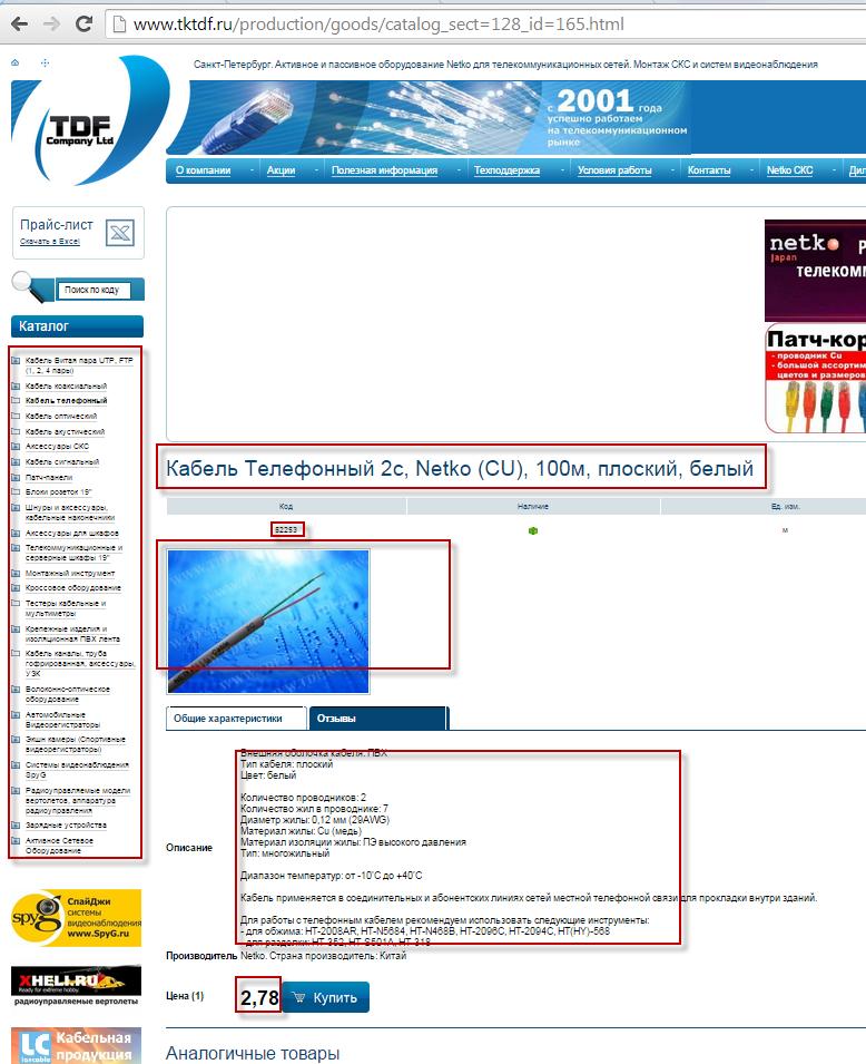 Наполнение интернет магазина товарами tktdf.ru
