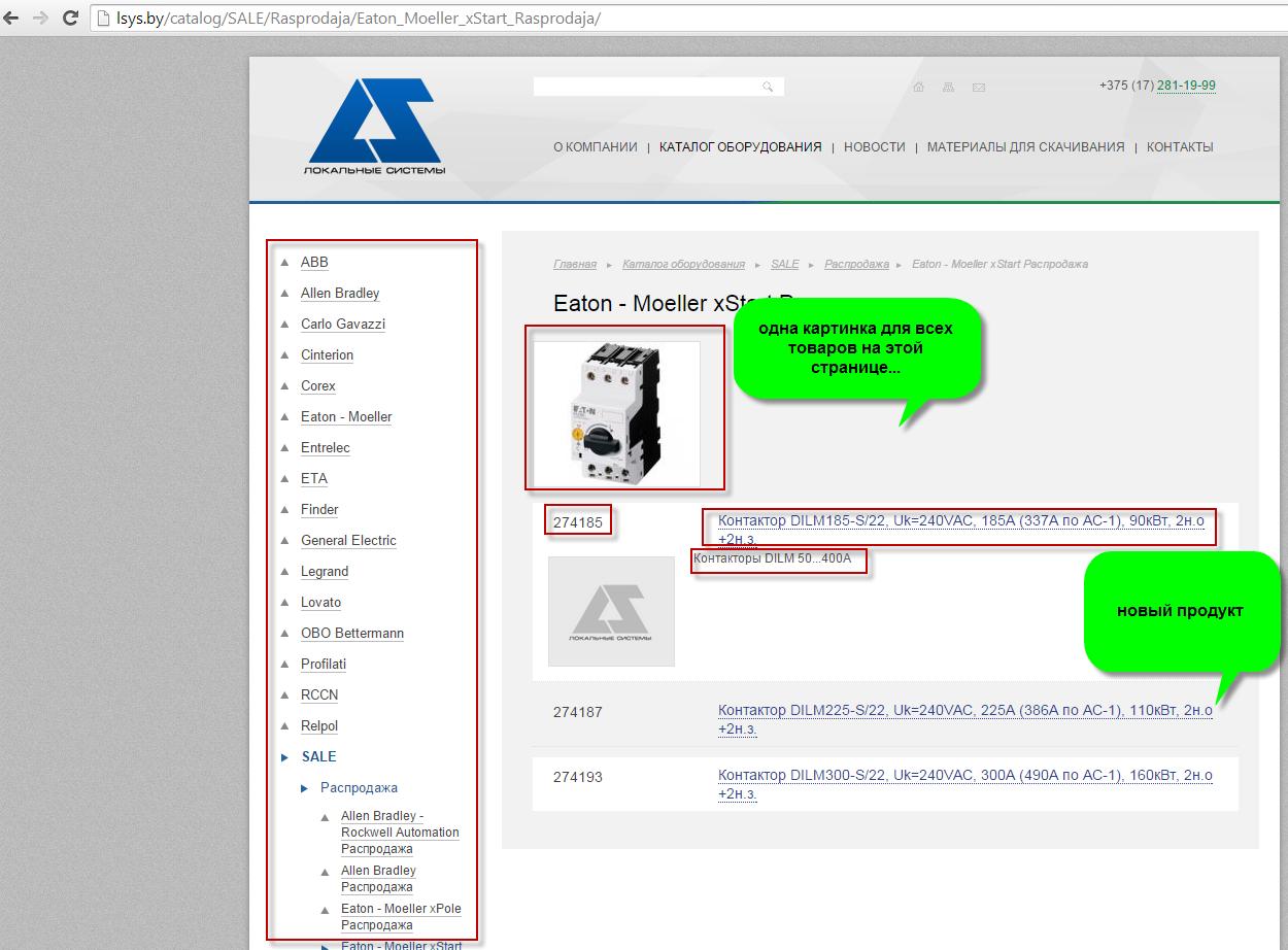 Наполнение каталога интернет магазина lsys.by