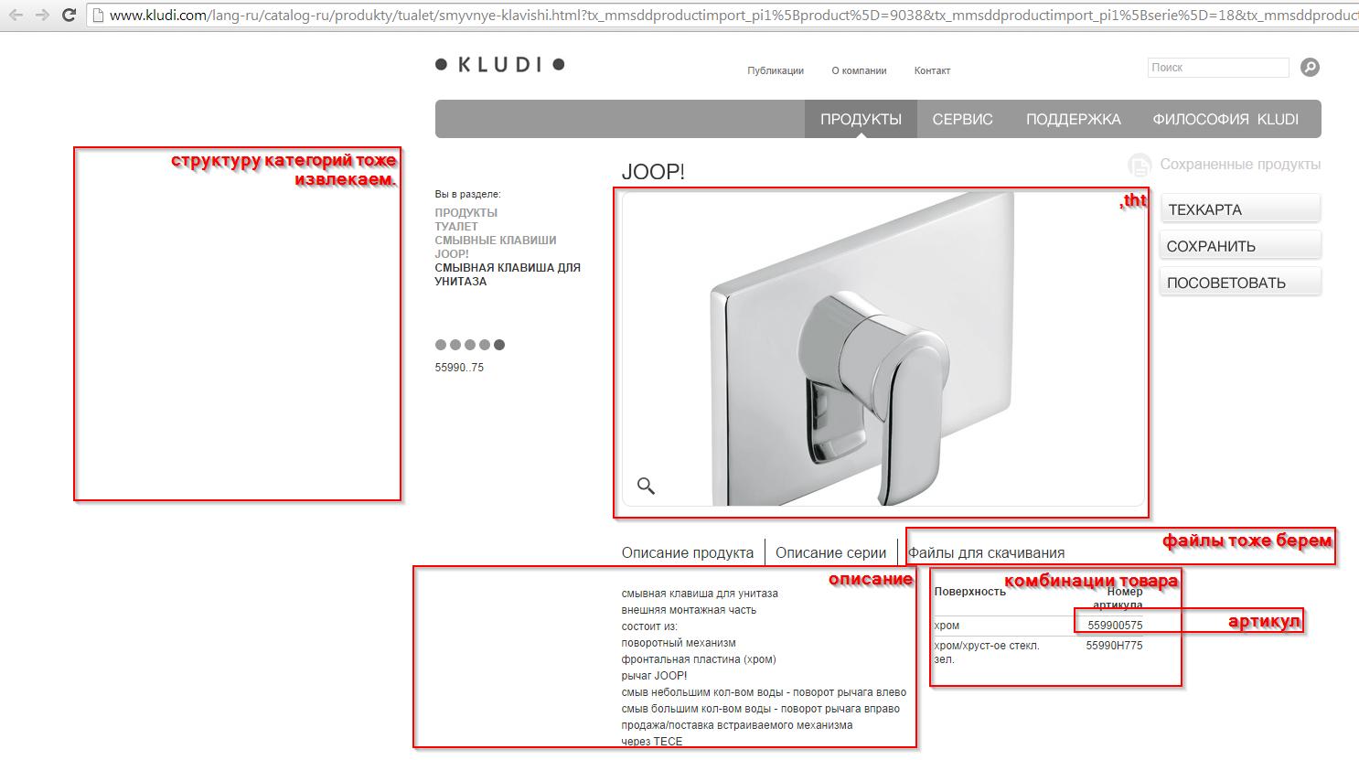 Наполнение магазина товарами kludi.com