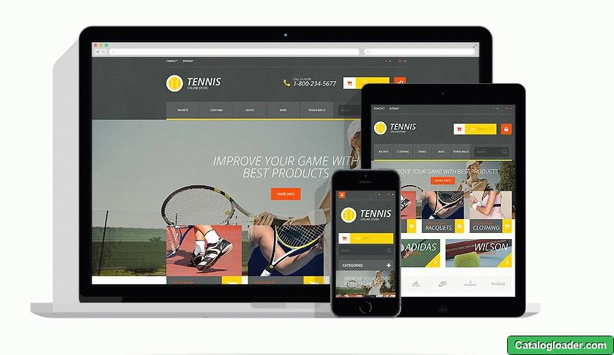 Бесплатная тема для PrestaShop - Tennis Accessories